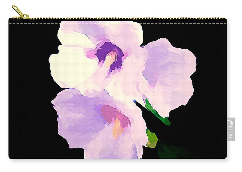 Hibiscus Carry-all Pouch featuring the mixed media The Artful Hibiscus by Debra Lynch