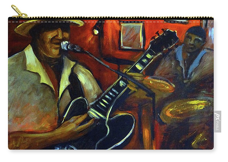Blues Carry-all Pouch featuring the painting The Back Room by Valerie Vescovi
