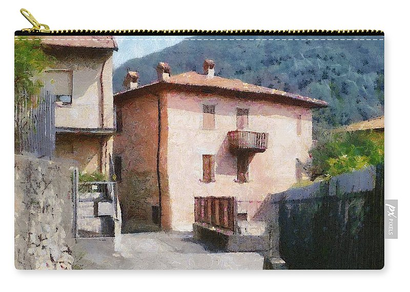 Alps Carry-all Pouch featuring the painting The Back Street Towards Home by Jeffrey Kolker