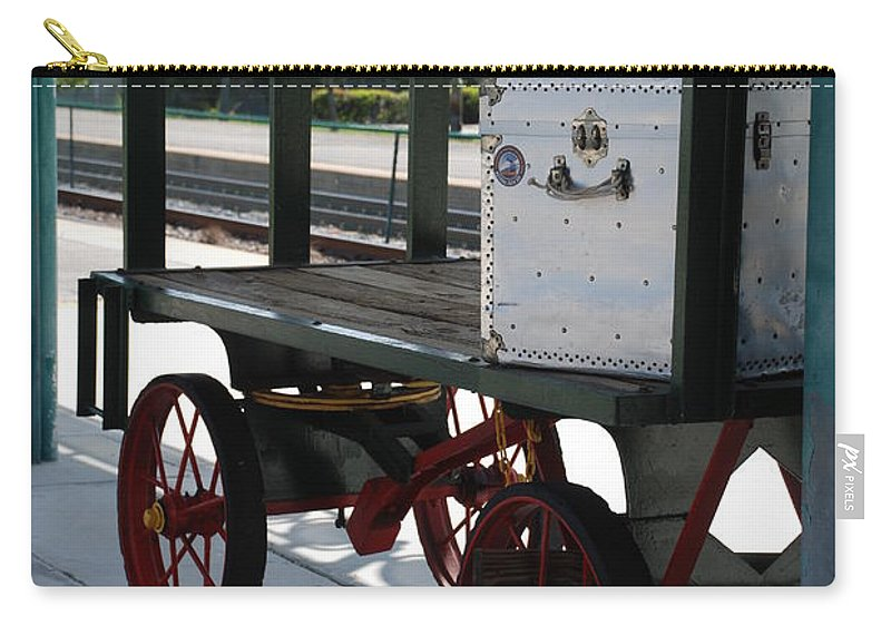 Train Station Carry-all Pouch featuring the photograph The Baggage Cart And Truck by Rob Hans