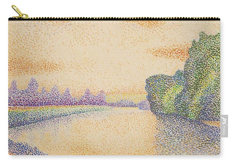 The Carry-all Pouch featuring the painting The Banks Of The Marne At Dawn 1888 by DuboisPillet Albert