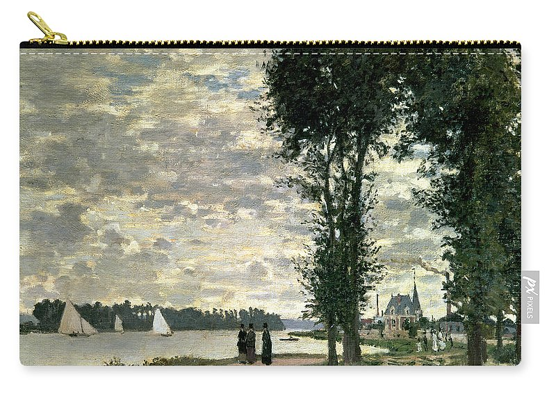 French Carry-all Pouch featuring the painting The Banks Of The Seine At Argenteuil by Claude Monet