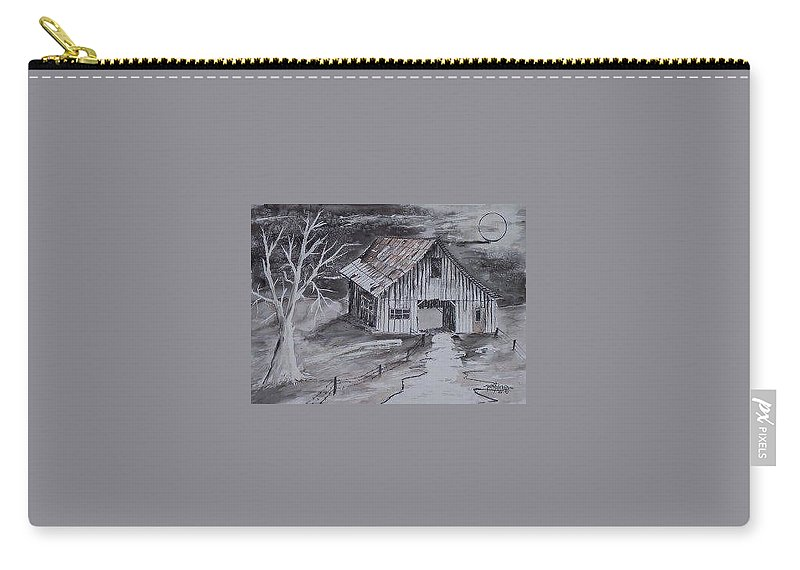 Watercolor Landscape Painting Barn Pen And Ink Painting Drawing Carry-all Pouch featuring the painting THE BARN country pen and ink drawing by Derek Mccrea