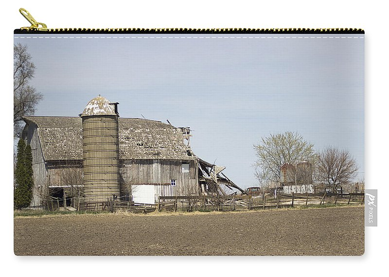 Carry-all Pouch featuring the photograph The Barn's Last Season by Cathy Anderson