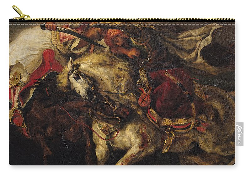 The Carry-all Pouch featuring the painting The Battle Of Giaour And Hassan by Ferdinand Victor Eugene Delacroix
