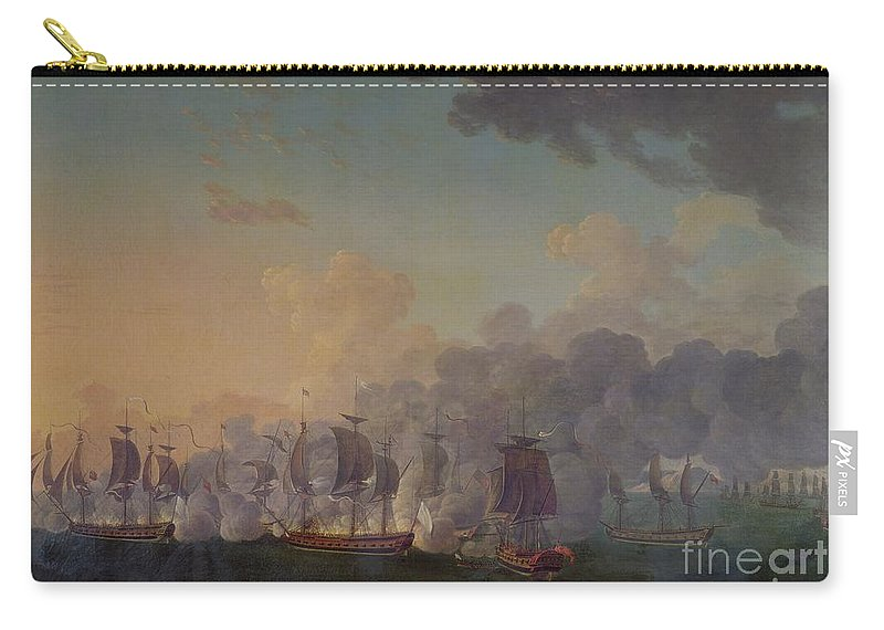 The Carry-all Pouch featuring the painting The Battle Of Louisbourg On The 21st July 1781 by Auguste Rossel De Cercy