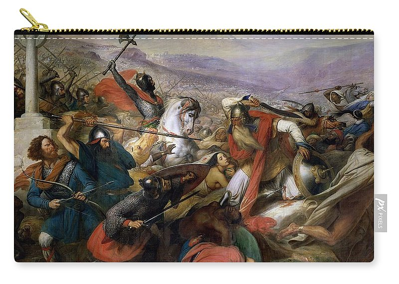 Poitiers Carry-all Pouch featuring the painting The Battle Of Poitiers by Charles Auguste Steuben