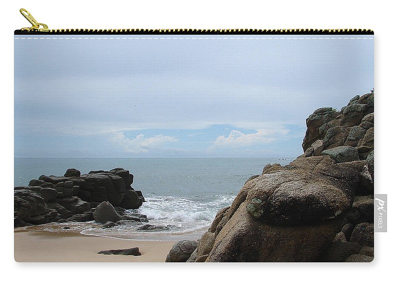 Sand Ocean Clouds Blue Sky Rocks Carry-all Pouch featuring the photograph The Beach 2 by Luciana Seymour