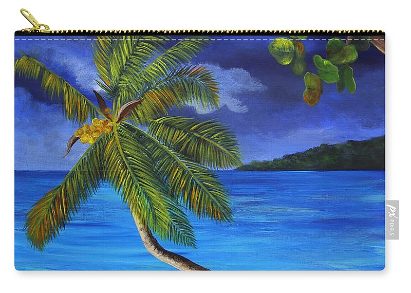 Beach Carry-all Pouch featuring the painting The Beach At Night by Dominica Alcantara