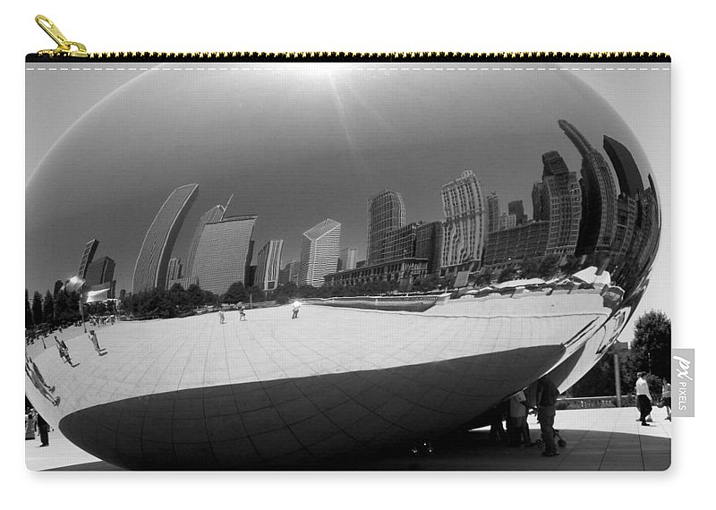 Chicago Carry-all Pouch featuring the photograph The Bean B-w by Anita Burgermeister
