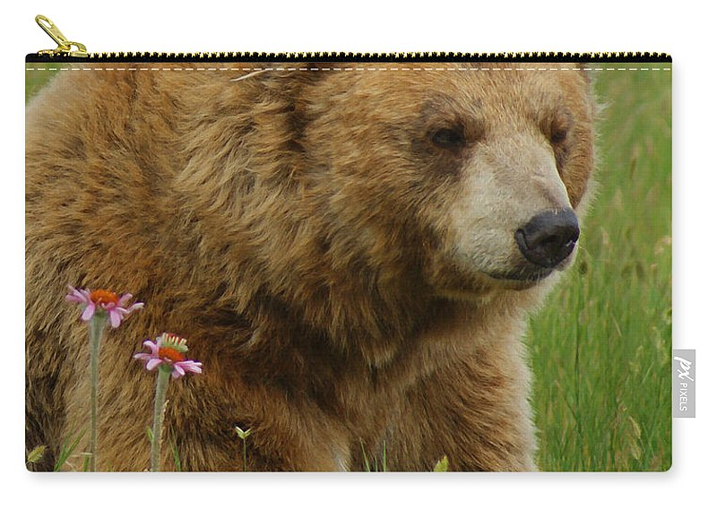 Bear Carry-all Pouch featuring the mixed media The Bear 1 Dry Brushed by Ernie Echols
