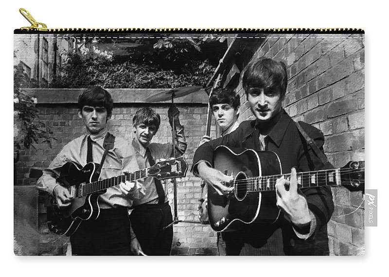 The Beatles Carry-all Pouch featuring the painting The Beatles In London 1963 Black And White Painting by Tony Rubino