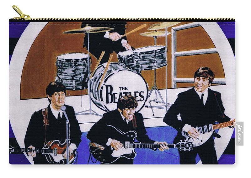 1960s Carry-all Pouch featuring the drawing The Beatles - Live On The Ed Sullivan Show by Sean Connolly