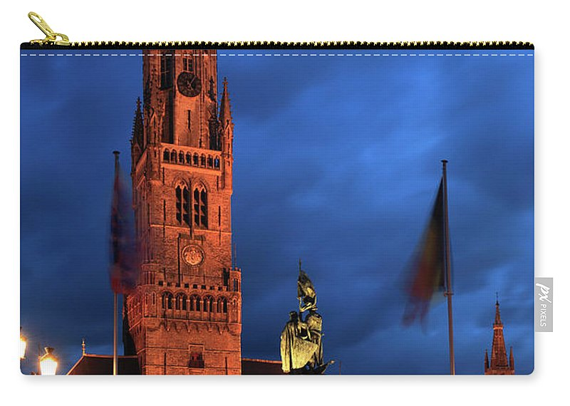 Belfort Carry-all Pouch featuring the photograph The Belfort Tower, Belfry, Bruges City, West Flanders by Dave Porter