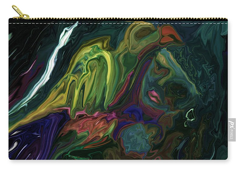 Abstract Carry-all Pouch featuring the digital art The Bird Man by Rabi Khan