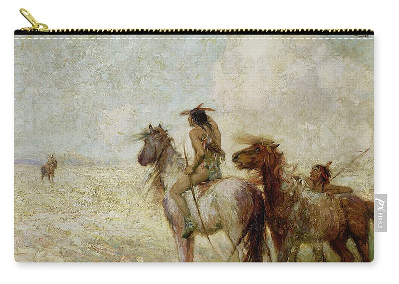 The Carry-all Pouch featuring the painting The Bison Hunters by Nathaniel Hughes John Baird
