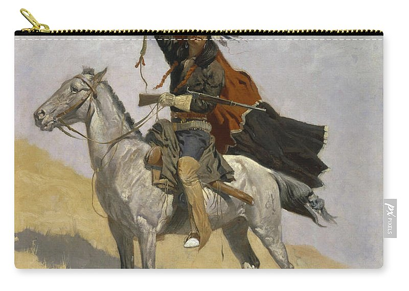 Native American Carry-all Pouch featuring the painting The Blanket Signal by Frederic Sackrider Remington