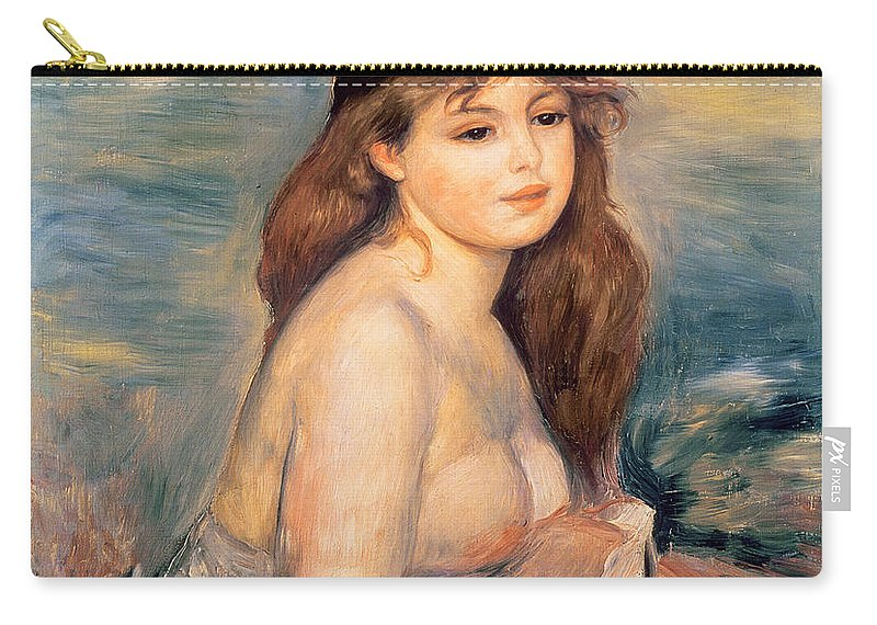 The Carry-all Pouch featuring the painting The Blonde Bather by Pierre Auguste Renoir