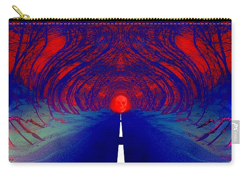 Street Carry-all Pouch featuring the digital art The Blue Avenue by Helmut Rottler
