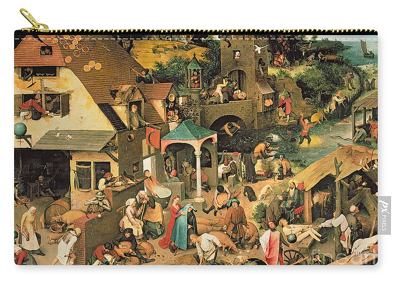 Bruegel Carry-all Pouch featuring the painting The Blue Cloak by Pieter the Elder Bruegel