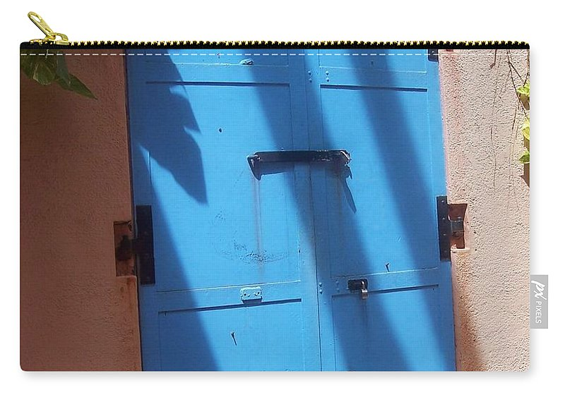 Architecture Carry-all Pouch featuring the photograph The Blue Door by Debbi Granruth
