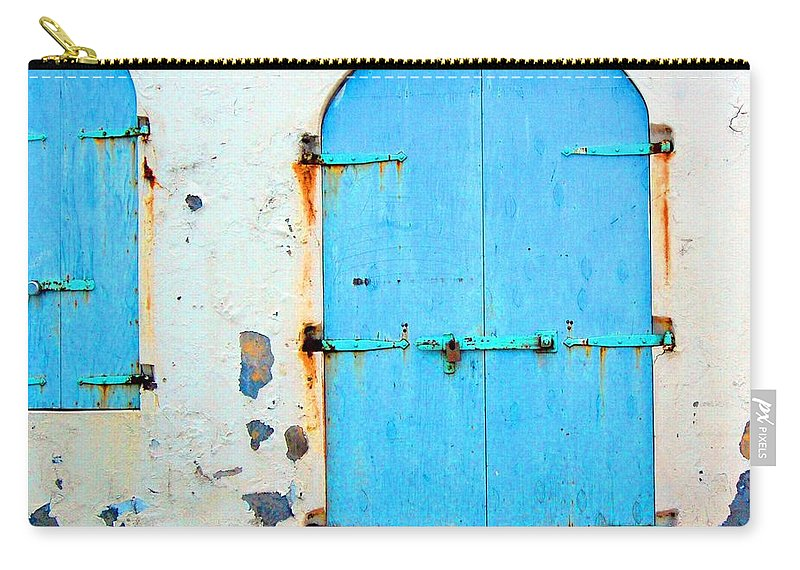 Door Carry-all Pouch featuring the photograph The Blue Door Shutters by Debbi Granruth