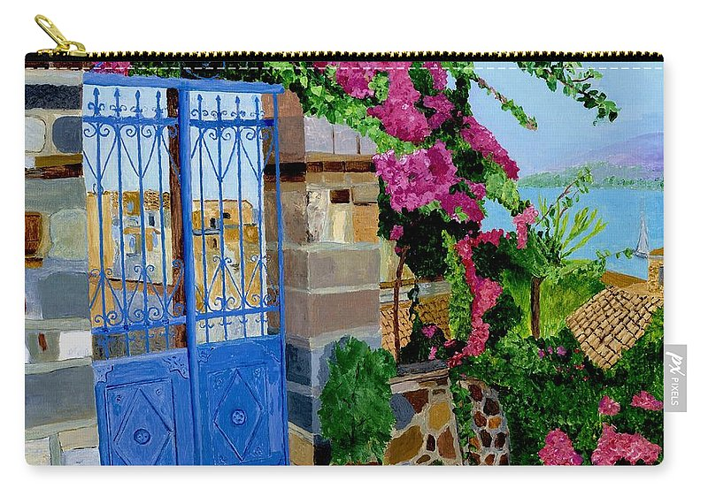 Poros Island Gate Carry-all Pouch featuring the painting The Blue Gate by Rodney Campbell