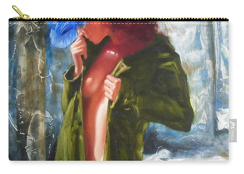 Art Carry-all Pouch featuring the painting The Blue Hat by Sergey Ignatenko