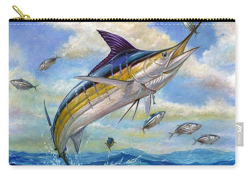 Blue Marlin Carry-all Pouch featuring the painting The Blue Marlin Leaping To Eat by Terry Fox