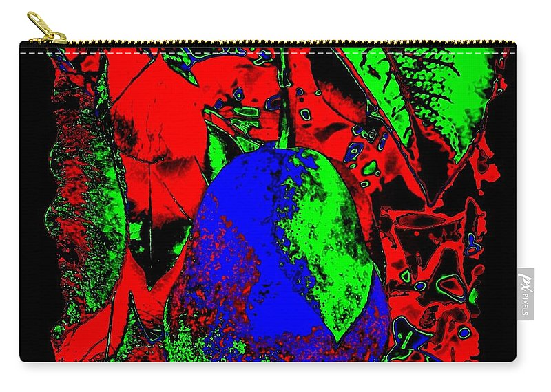 Abstract Carry-all Pouch featuring the digital art The Blue Pear by Will Borden