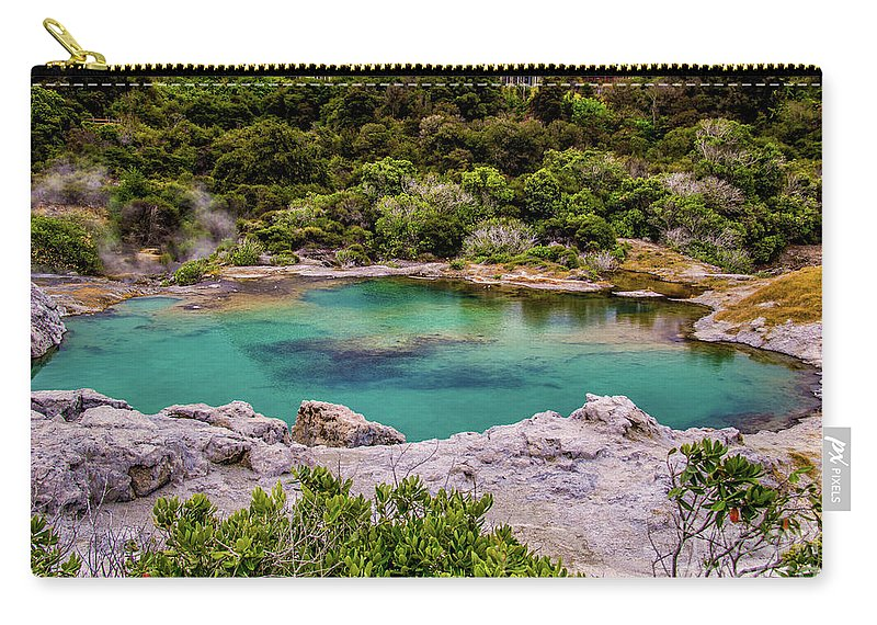 Te Whakarewarewa Carry-all Pouch featuring the photograph The Blue Pool by Roberta Bragan