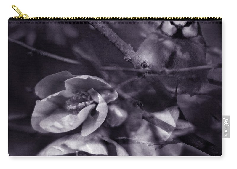 Blue Carry-all Pouch featuring the photograph The Blue Tit by Angel Tarantella