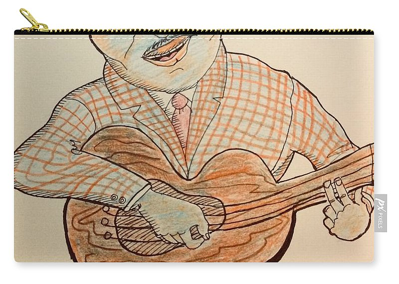 The Hues Carry-all Pouch featuring the drawing The Blues Man by Al Elumn