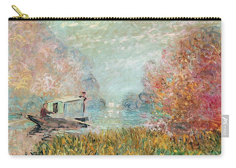 The Carry-all Pouch featuring the painting The Boat Studio On The Seine by Claude Monet