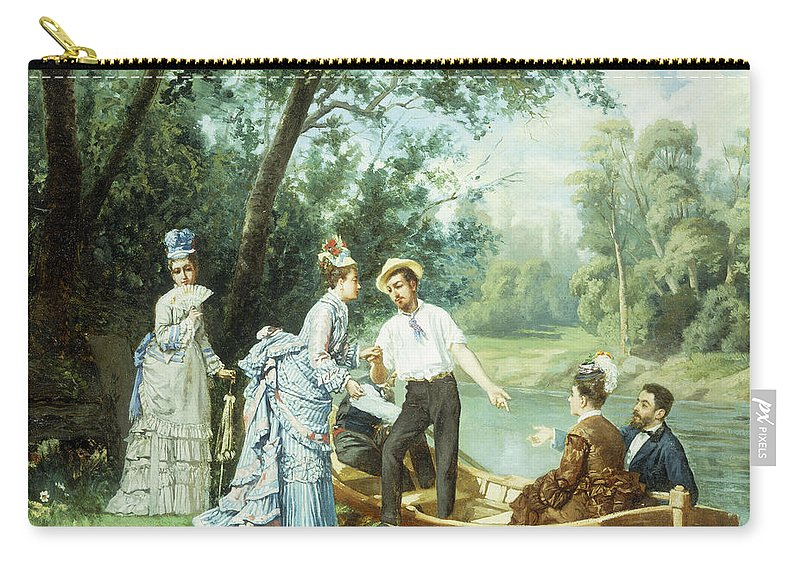 The Boating Party Carry-all Pouch featuring the painting The Boating Party by Antonio Garcia Mencia