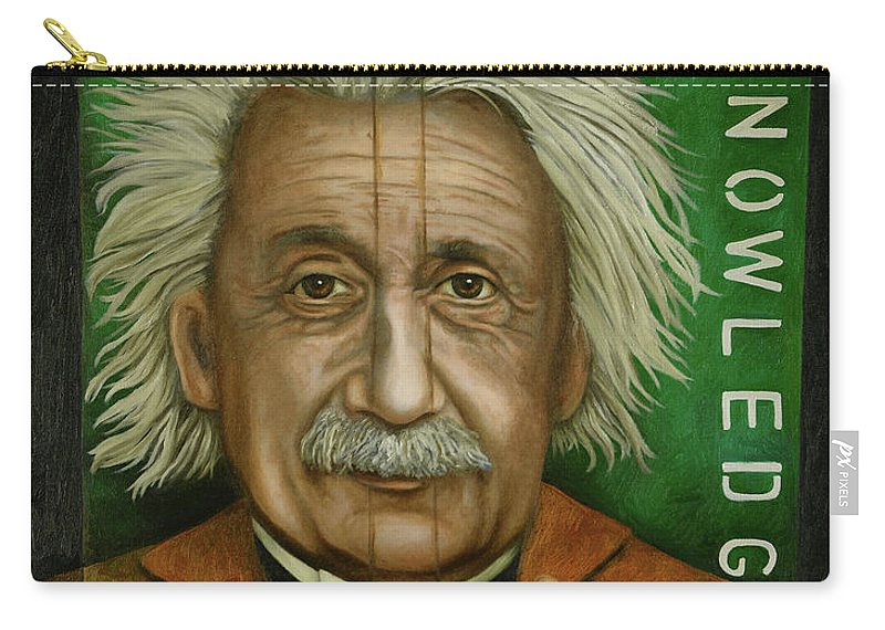 Einstein Carry-all Pouch featuring the painting The Book Of Knowledge by Leah Saulnier The Painting Maniac
