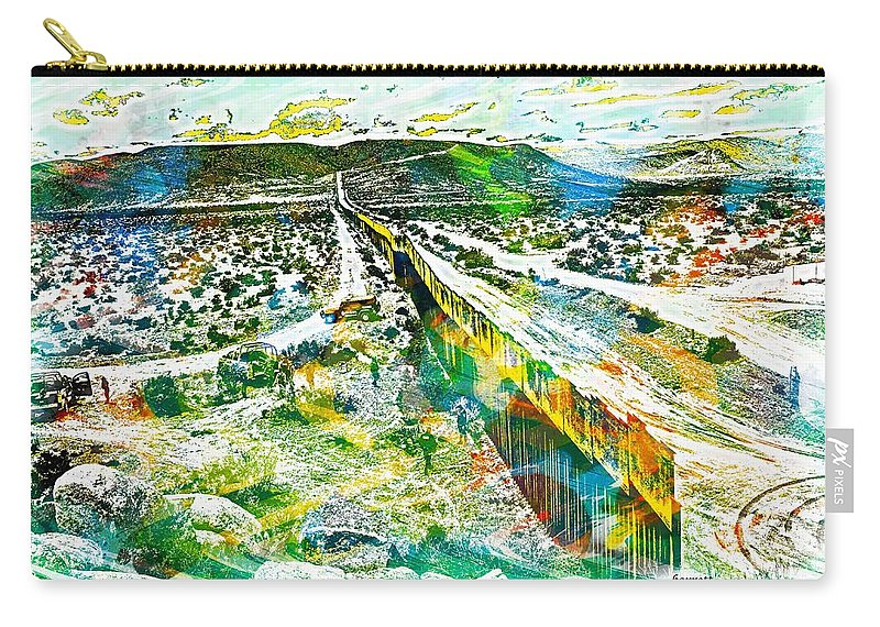 Borner Carry-all Pouch featuring the digital art The Border by Don Barrett