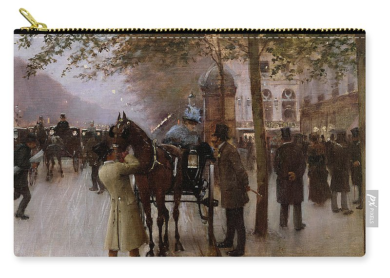 Traffic Carry-all Pouch featuring the painting The Boulevards by Jean Beraud