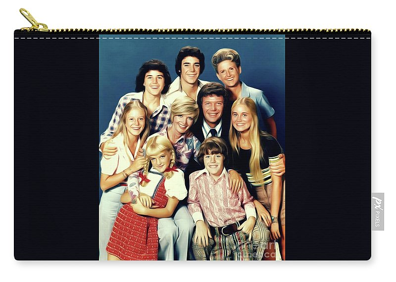 Brady Carry-all Pouch featuring the digital art The Brady Bunch by Mary Bassett