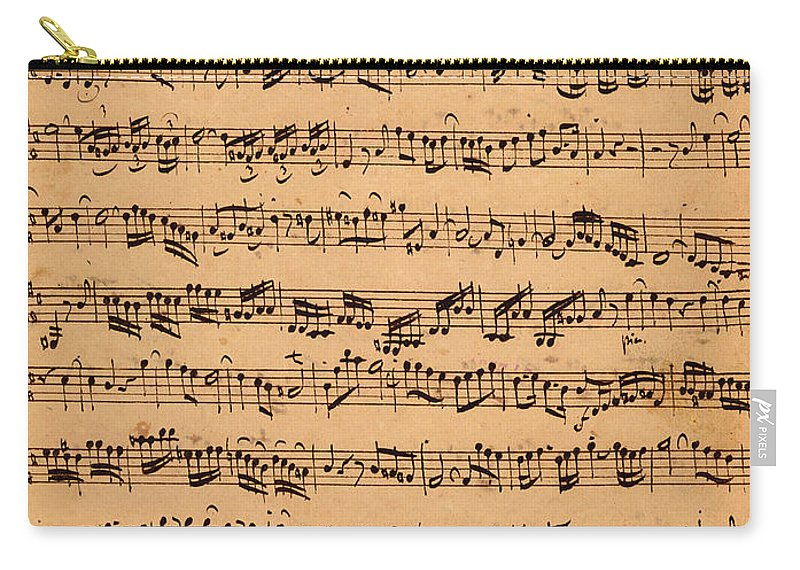 Music; Musician; Score; Composition; Composer; Classical Music; Baroque; Notes; Note; Notation; Handwritten; Manuscript; Handwriting; First Violin Carry-all Pouch featuring the drawing The Brandenburger Concertos by Johann Sebastian Bach