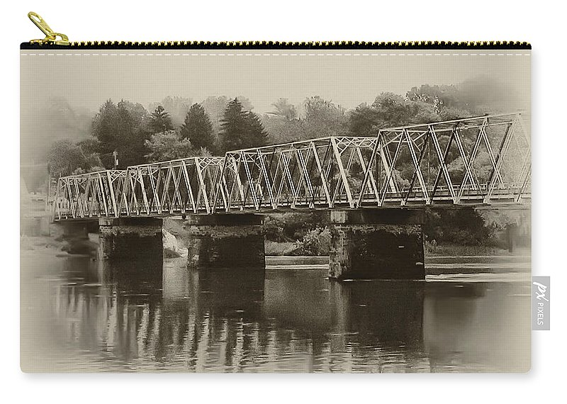 The Bridge At Washingtons Crossing Carry-all Pouch featuring the photograph The Bridge At Washingtons Crossing by Bill Cannon