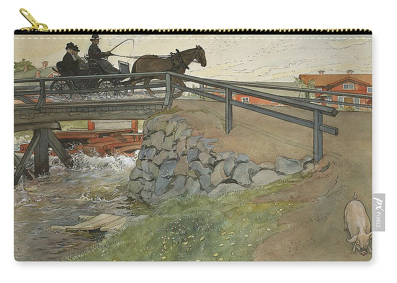 19th Century Art Carry-all Pouch featuring the painting The Bridge. From A Home by Carl Larsson