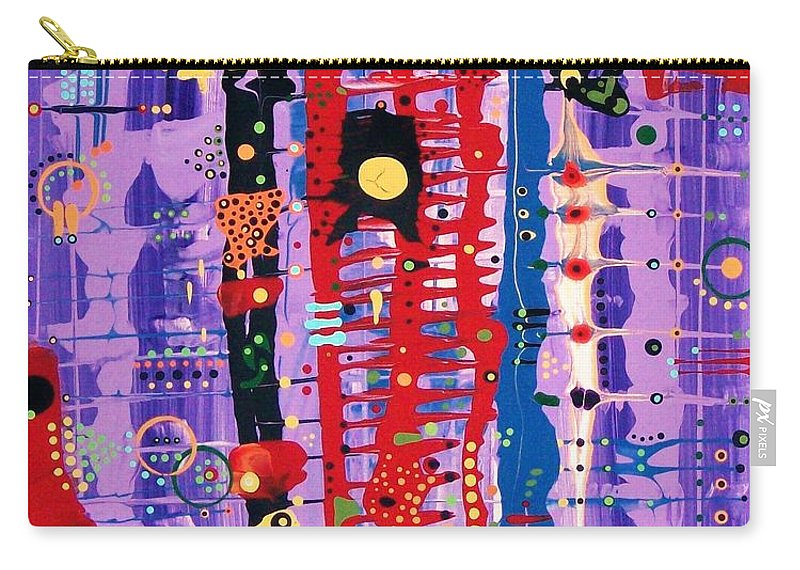 Abstract Carry-all Pouch featuring the painting The Bright Red Ladder To Success by Charlotte Nunn