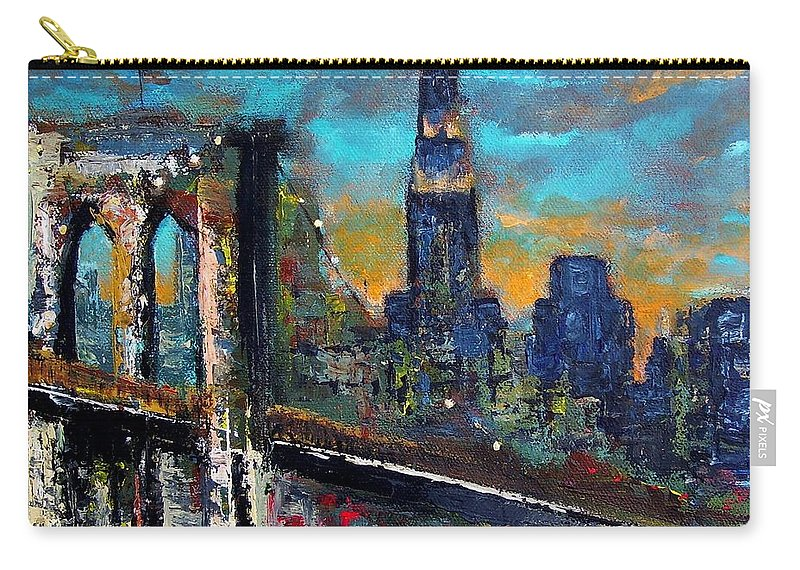 Bridges Carry-all Pouch featuring the painting The Brooklyn Bridge by Frances Marino
