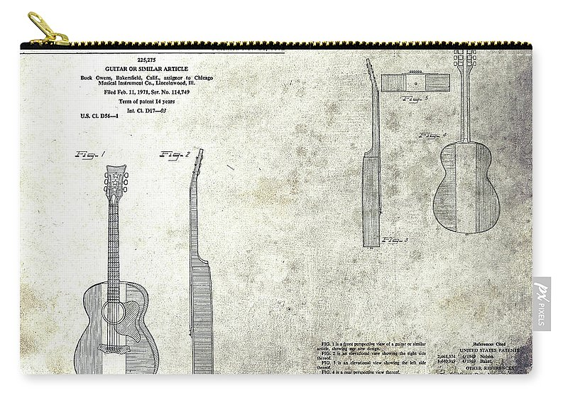 Buck Owens Guitar Patent Carry-all Pouch featuring the mixed media The Buck Owens Guitar Design by Dan Sproul