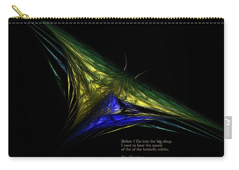 Abstract Digital Painting Carry-all Pouch featuring the digital art The Butterfly Within by David Lane