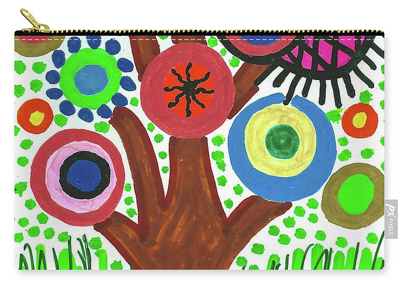 Funky Carry-all Pouch featuring the drawing The Button Tree by Susan Schanerman