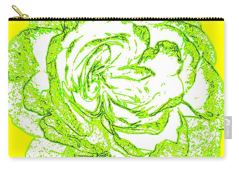 Abstract Carry-all Pouch featuring the digital art The Cabbage Rose by Will Borden
