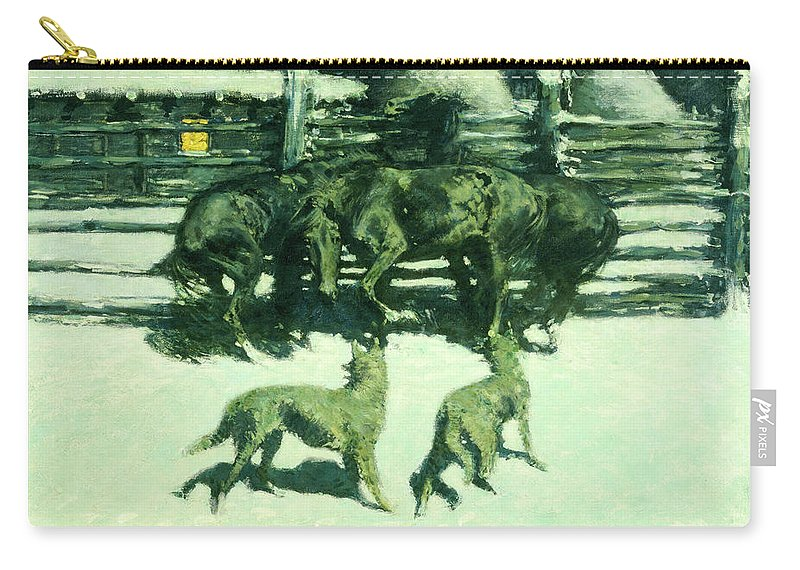 Horses Carry-all Pouch featuring the painting The Call For Help by Frederic Sackrider Remington