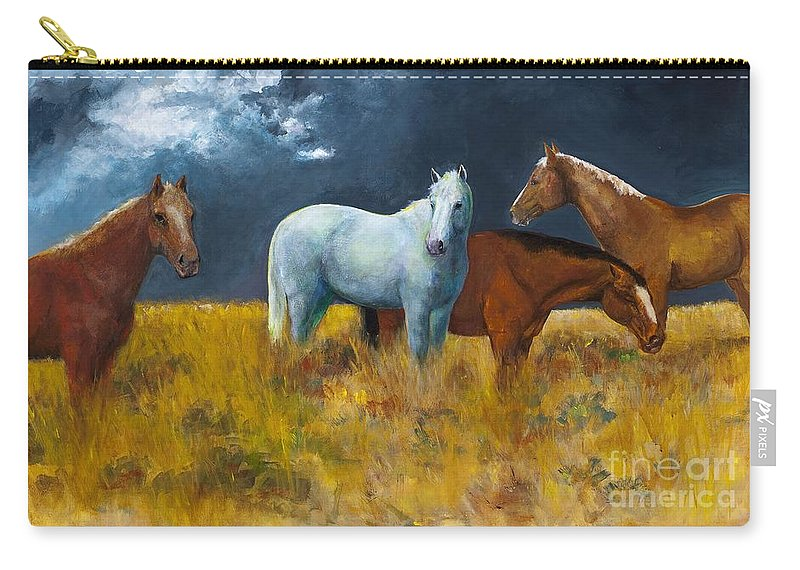 Horses Carry-all Pouch featuring the painting The Calm After The Storm by Frances Marino